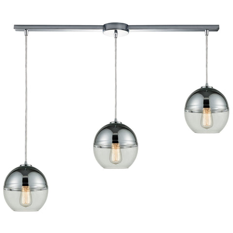Revelo 3-Light 38W x 9H Linear Mini Pendant Fixture in Polished Chrome