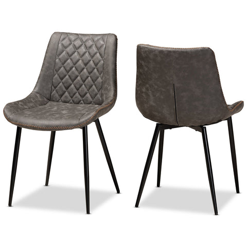 Baxton Studio Loire Faux Leather Upholstered 2-Piece Dining Chair Set