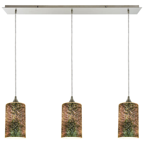 Illusions 3-Light Linear Pan in Satin Nickel with 3-D Starburst Glass Pendant