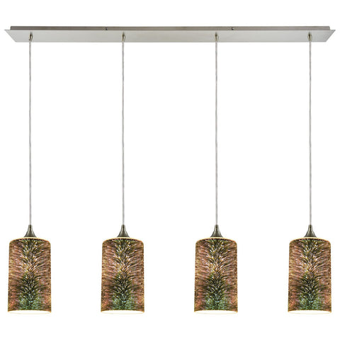 Illusions 4-Light Linear Pan in Satin Nickel with 3-D Starburst Glass Pendant