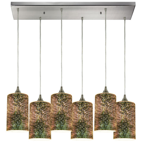Illusions 6-Light Rectangle in Satin Nickel with 3-D Starburst Glass Pendant