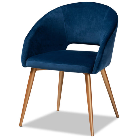 Baxton Studio Vianne Navy Blue Upholstered Gold Metal Dining Chair