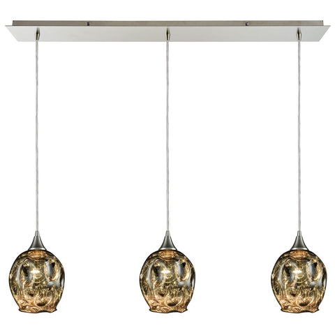 Morph 3-Light Linear Blown Glass Mini Pendant in Satin Nickel
