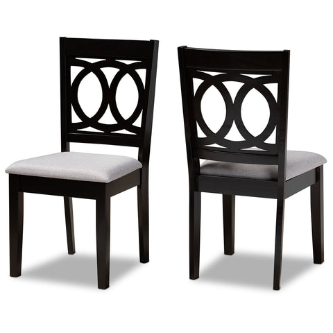 Baxton Studio Lenoir Espresso Brown 2-Piece Dining Chair Set