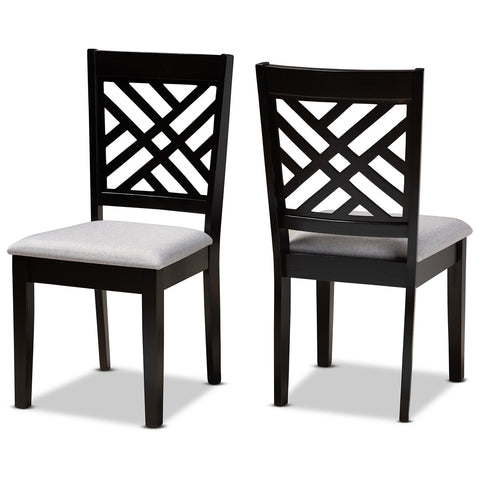 Baxton Studio Caron Espresso Brown 2-Piece Dining Chair Set