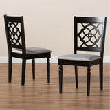 Baxton Studio Renaud Grey and Dark Brown Finished 2-Piece Dining Chair Set