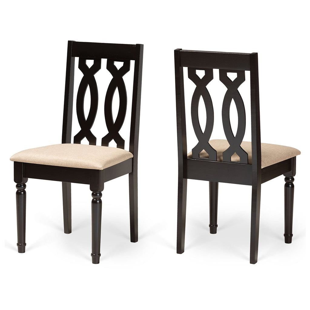 Baxton Studio Cherese Sand and Dark Brown Finished 2-Piece Dining Chair Set