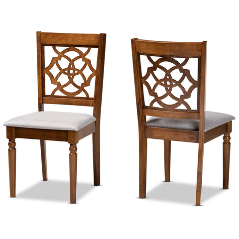 Baxton Studio Renaud Grey Fabric Walnut 2-Piece Dining Chair Set