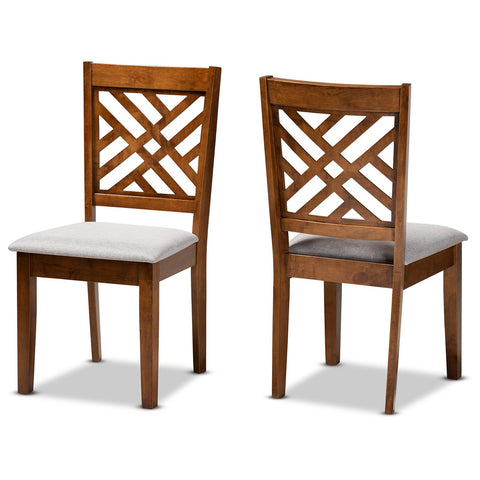 Baxton Studio Caron Grey Fabric and Walnut Brown 2-Piece Dining Chair Set