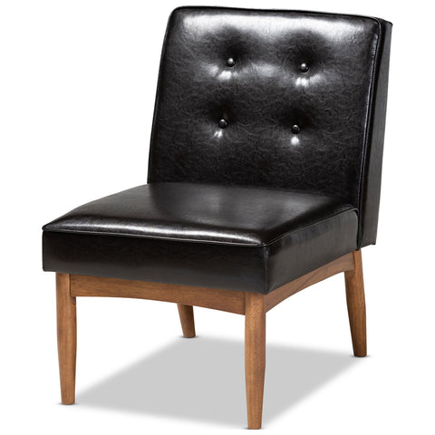 Baxton Studio Arvid Dark Brown Faux Leather Upholstered Wood Dining Chair