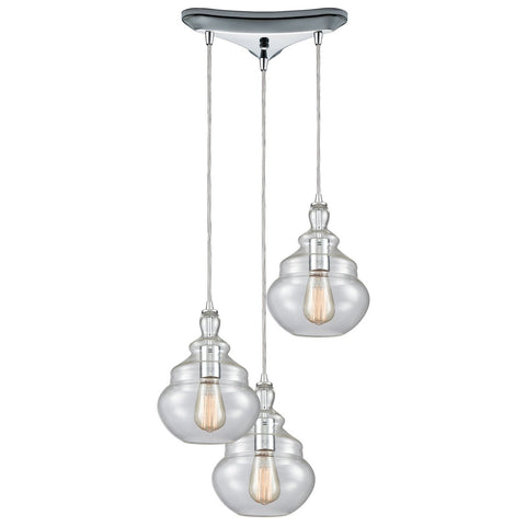 Tabor 3-Light Triangular Pendant Fixture in Polished Chrome with Clear Glass