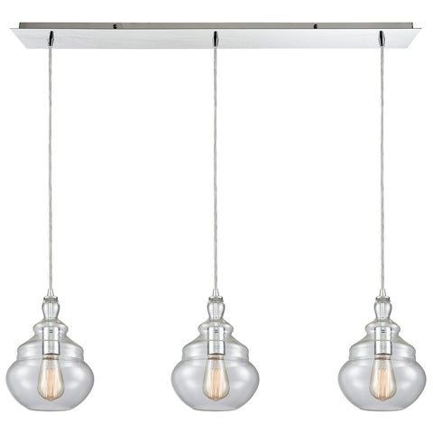 Tabor 3-Light 36W x 11H Linear Mini Pendant Fixture in Polished Chrome