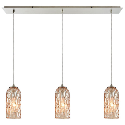 Ansegar 3-Light 36W x 8H Linear Glass Mini Pendant in Satin Nickel