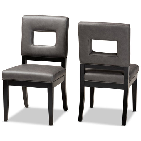 Baxton Studio Faustino Faux Leather 2-Piece Dining Chair Set