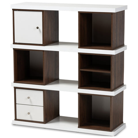 Baxton Studio Rune Two-Tone White and Walnut Brown 2-Drawer Bookcase