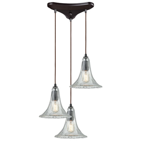 Hand Formed Glass 3-Light 12W x 9H Triangular Pendant Fixture in Oiled Bronze