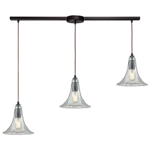 Hand Formed Glass 3-Light 38W x 9H Linear Mini Pendant Fixture in Oiled Bronze