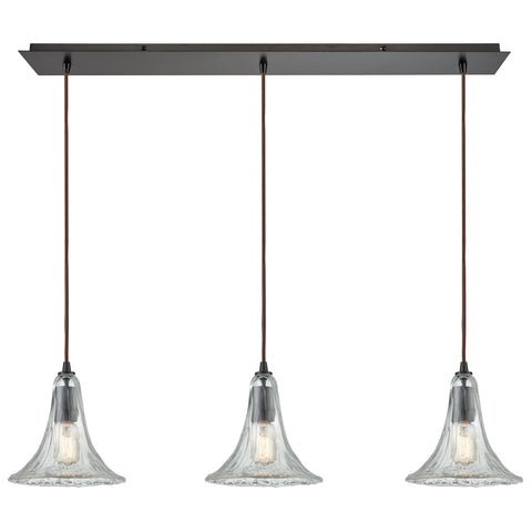 Hand Formed Glass 3-Light 36W x 9H Linear Mini Pendant Fixture in Oiled Bronze
