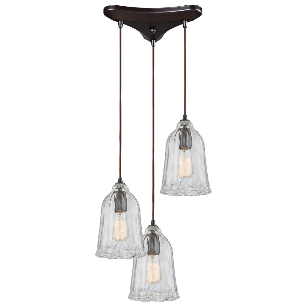 Hand Formed Glass 3-Light 12W x 11H Triangular Pendant Fixture in Oiled Bronze