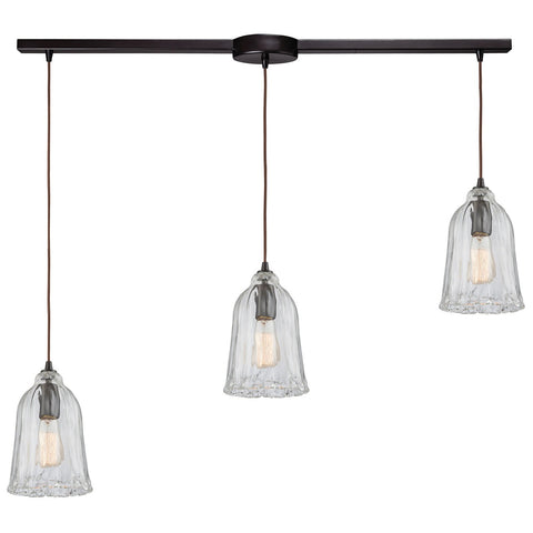 Hand Formed Glass 3-Light 38W x 11H Linear Mini Pendant Fixture in Oiled Bronze