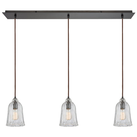Hand Formed Glass 3-Light 36W x 11H Linear Mini Pendant Fixture in Oiled Bronze