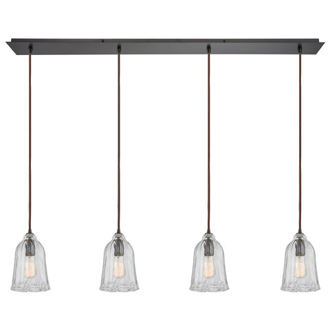 Hand Formed Glass 4-Light 46W x 11H Linear Pendant Fixture in Oiled Bronze