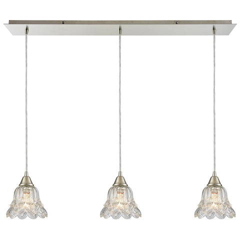 Walton 3-Light 36W x 7H Linear Mini Pendant Fixture in Satin Nickel