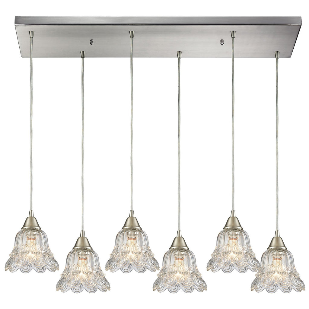 Walton 6-Light Rectangular Pendant Fixture in Satin Nickel