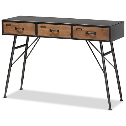 Baxton Studio Ariana Black and Oak Brown 3-Drawer Metal Console Table