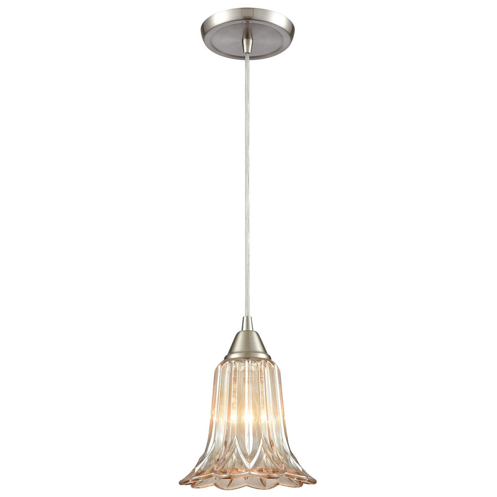 Walton 1-Light Mini Pendant in Satin Nickel with Pressed Glass
