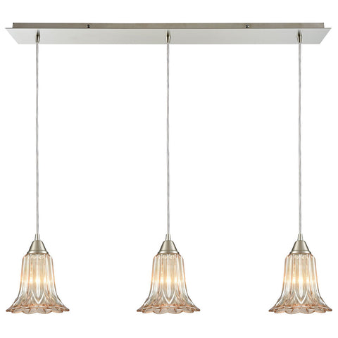 Walton 3-Light Linear Pressed Glass Mini Pendant in Satin Nickel