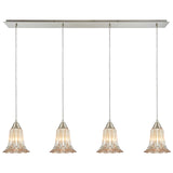 Walton 4-Light Linear Pressed Glass Pendant in Satin Nickel