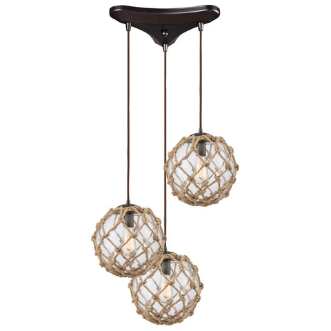 Coastal Inlet 3-Light Triangular Rope and Clear Glass Pendant in Oiled Bronze