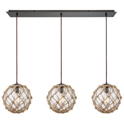 Coastal Inlet 3-Light 36W x 11H Linear Rope and Clear Glass Oiled Bronze Pendant