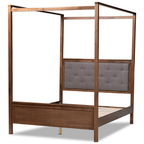Baxton Studio Natasha Grey and Walnut Brown Platform Canopy Bed
