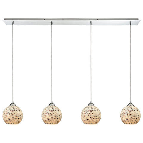 Spatter 4-Light Linear Pan in Polished Chrome with Spatter Mosaic Glass Pendant
