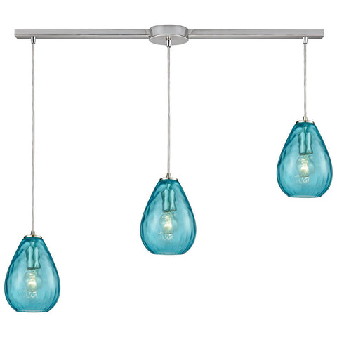 Lagoon 3-Light Linear Bar Pendant with Water Glass