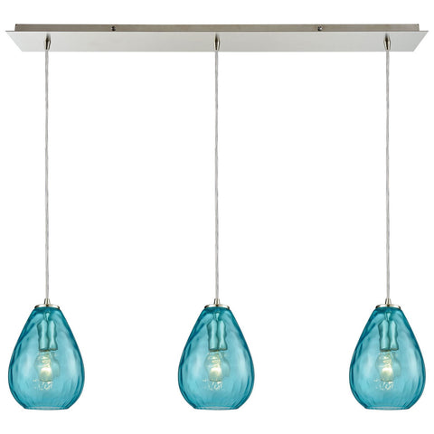 Lagoon 3-Light Linear Pan Pendant with Water Glass