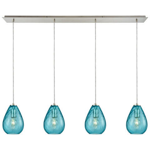 Lagoon 4-Light Linear Pan Pendant with Water Glass