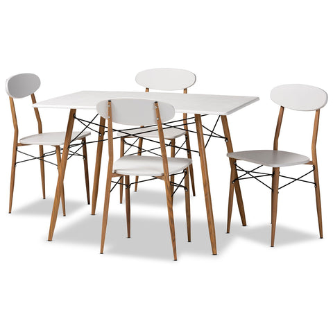 Baxton Studio Wayne 5-Piece White and Walnut Finished Metal Dining Set