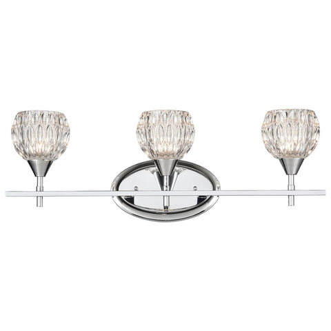 Kersey 3-Light Vanity Light in Polished Chrome with Clear Crystal