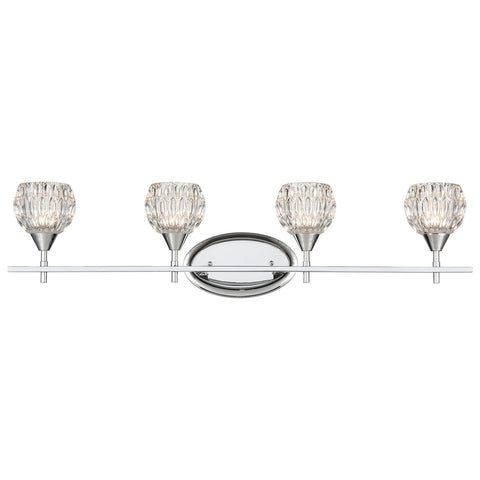 Kersey 4-Light Vanity Light in Polished Chrome with Clear Crystal