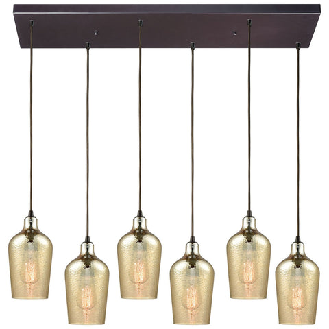 Hammered Glass 6-Light Oil Rubbed Bronze Rectangle Fixture with Hammered Glass