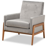 Baxton Studio Perris Velvet Fabric Upholstered Lounge Chair
