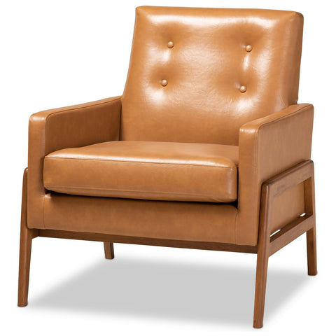 Baxton Studio Perris Tan Faux Leather Upholstered Lounge Chair