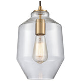 Barrel 1-Light Mini Pendant in Satin Brass with Clear Blown Glass
