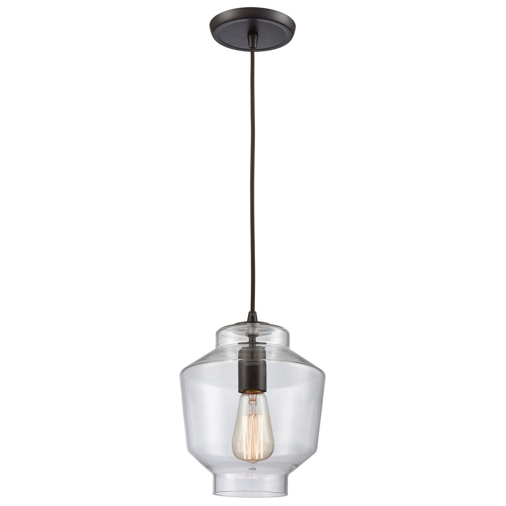 Barrel 1-Light Mini Pendant in Oil Rubbed Bronze with Clear Blown Glass