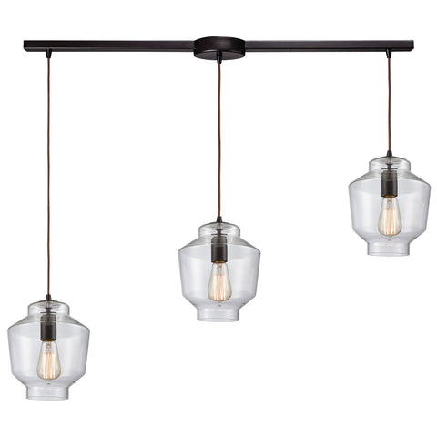 Barrel 3-Light 38W x 10H Linear Mini Pendant Fixture in Oil Rubbed Bronze