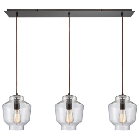 Barrel 3-Light 36W x 10H Linear Mini Pendant Fixture in Oil Rubbed Bronze