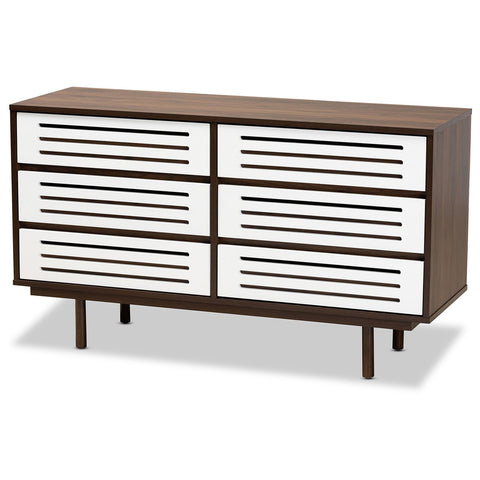 Baxton Studio Meike 6-Drawer Two-Tone Walnut Brown and White Dresser